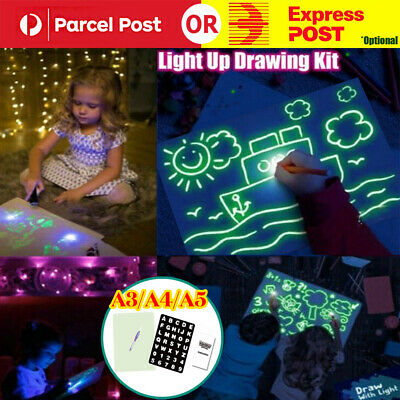 A3 A4 A5 Drawing Board Light Up Draw Sketchpad Board Kids Developing Toys + Pen