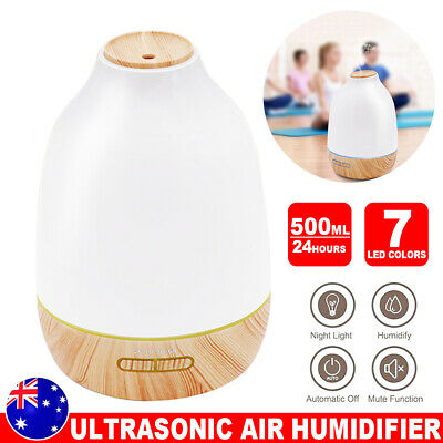 500ml Ultrasonic Air Mist Humidifier Essential Oil Diffuser Aroma LED Lights AU