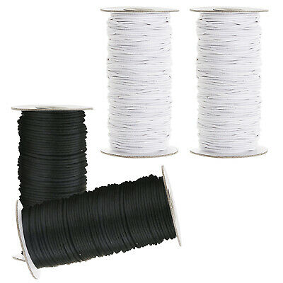 White Black Elastic Cord Round Bungee Shock String Stretchable Rope for Sewing