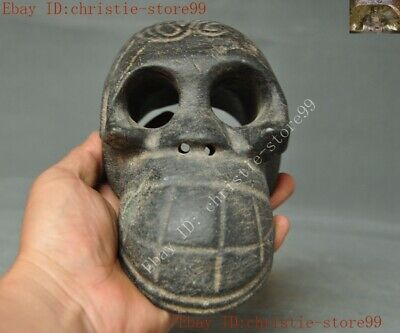 Ancient Chinese china Hongshan Culture Old jade stone hand carved Skull statue