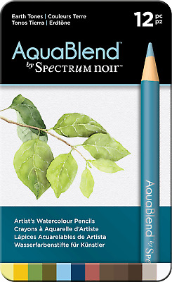 Crafter's Spectrum Noir Aquablend ~ pack of 12 watercolour pencils ~ Earth Tones