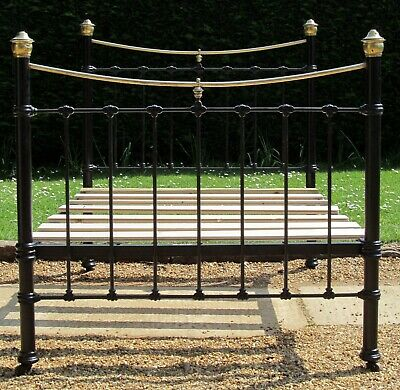 Victorian Brass & iron Small Double ( 4 feet wide ) Bed with Pine Base