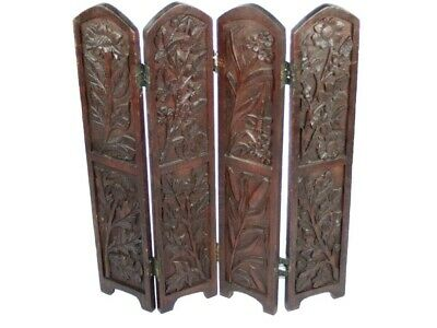 Antique Carved  Pine Wood 4 Panel Screen [ 5256 A ]