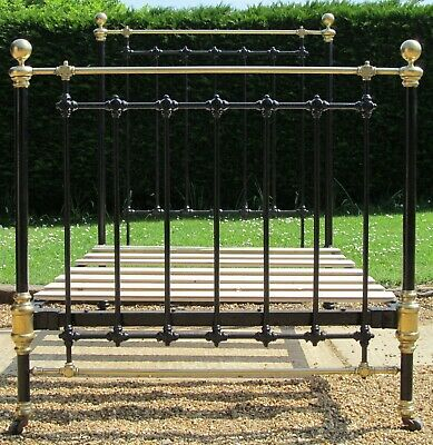 Imposing Victorian Brass & iron Small Double ( 4 feet wide ) Bed with Pine Base