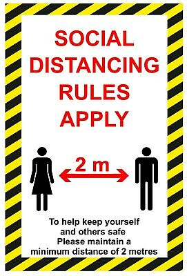 Social Distancing / safe distance sign sticker A4 free P&P