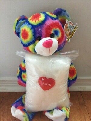 Make your own stuffed TYE DYE BEAR.Includes everything needed, no sewing.