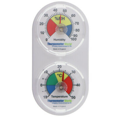 Twin Thermometer & Hygrometer Humidity Meter Colour Coded Scale - In-143