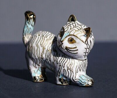 Older Item ~ Cloisonné ~ Bronze Body ~Cat ~ Gold Gilt ~ Old Stock ~ Adorable