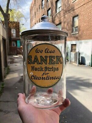 "VINTAGE  RARE CLEAN CRISP c.1930 ""SANEK NECK STRIPS"" BARBERSHOP BACKBAR JAR"
