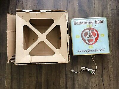 Ballantine Beer Lighted Wall Clock 1963 PAM Clock Co. IN BOX WORKS