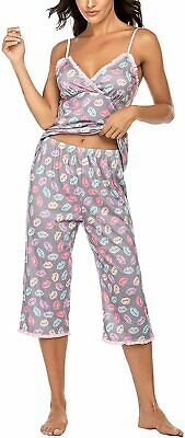 Hotouch Womens Pajamas Set V-Neck Printed Cami Top and Capris Pants Sleepwear Pj