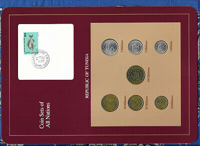 Coin Sets of All Nations Tunisia w/card 1960-1993 UNC 5,20,50,100 Millimes 1993