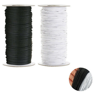White Black Elastic Cord Round Bungee Shock Stretchable Rope for Dressmaking DIY