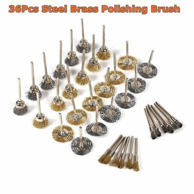 36Pcs Brass Wire Steel Polishing Brushes Wheels Set Fit For Dremel Rotary Tool