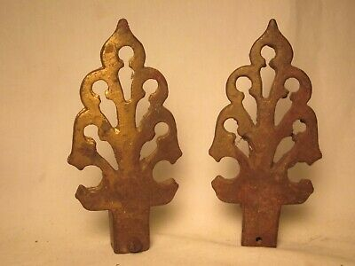 "2 cast iron finials finial pair old ornate 5.75"" antique architectural spike"