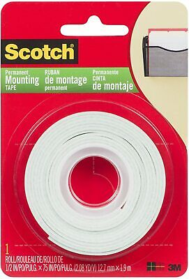 """Scotch Foam Mounting Double-Sided Tape, White Indoor Mounting Tape 1/2"""" x 75"""""""