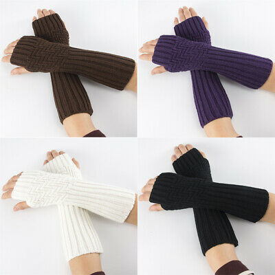 Elastic Soft Arm Warmers Candy Color Long Knitted Gloves Fingerless  Mittens