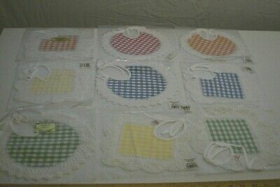 9 Wimpole Street Creations Gingham and Crocheted Lace Bibs - NIP