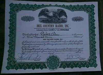 Hex Country Radio Inc. - PA - Stock Certificate