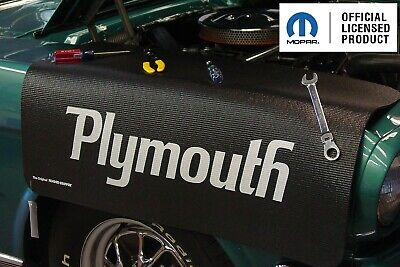 Black Fender Gripper Protective Cover Cushion w/ Script Emblem Logo For Plymouth