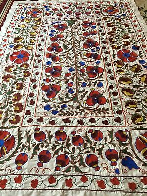 Vintage Uzbek Large Beautiful Quilt Bedding Hand Embroidered Wall Decor Suzani