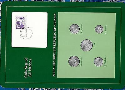 Coin Sets of All Nations Albania  w/card UNC 1 lek, 50, 20, 10, 5 Qindarka 1969