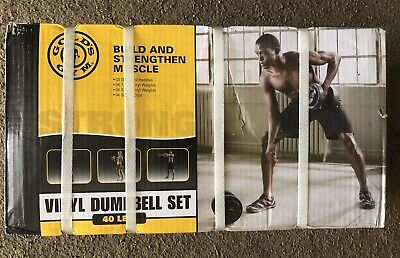 IN HAND Golds Gym 40 lb Vinyl Dumbbell Pair Set Adjustable Weightlifting Weights