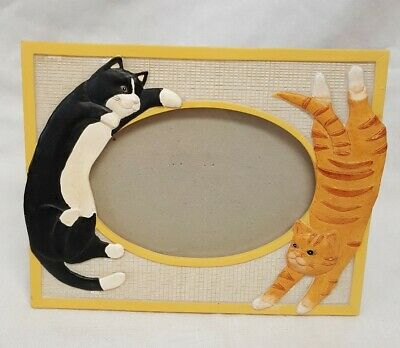 Happy Dancing Cats Picture Frame 8 x 6 - Ceramic? Tabby and Black & White Cat