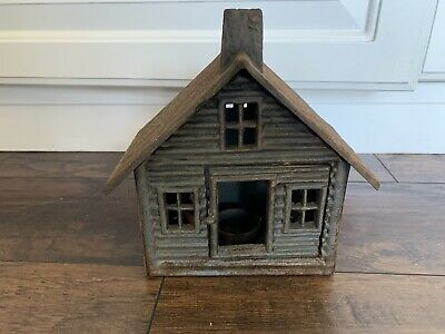 Vintage Cast Iron House Tea Light For Garden Lantern Patio
