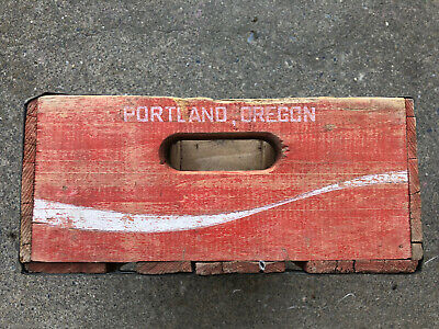 Portland OR Vintage Coca Cola Wooden Crate Carrier Box 12 Glass Coke Bottles Red