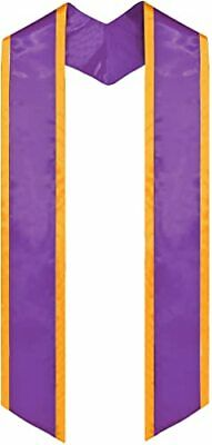 """Plain Graduation Purple with Gold Trim Honor Stole Angled End Adult 72"""""""