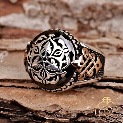 Unique Mens Ring Heraldic Celtic Knot Rings For Men Boho Vintage Silver Jewelry