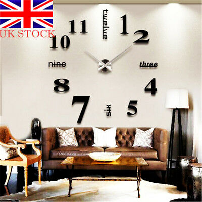 3D DIY Number Mirror Wall Sticker Art Clock Office Living Room Modern Home Decor