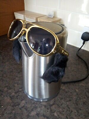 "Job Lot  """"18"""" Pairs Gold Elvis Sunglasses With Sideburns Fancy Dress/Stag"