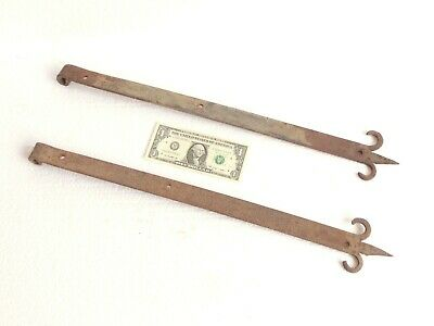 "Pair of Antique Wrought Iron Large Gate Hinges 22.25"" - Blacksmith Made"