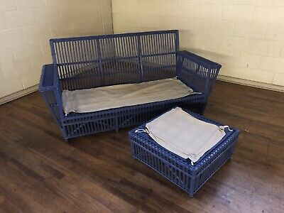 Maine Cottage Furniture Painted Rattan Sofa & Ottoman With Cushions