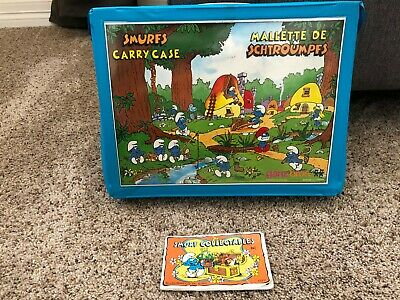 Vintage Collectible Smurfs Blue Vinyl Carry Case w/Handle and Brochure 1980's
