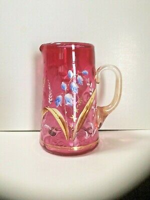 Antique Cranberry Enameled Cream Pitcher, Blue Bell Flowers