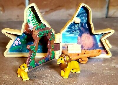 Vintage Disney Polly Pocket Lion King Pride Rock compact with Simba & Mufasa EUC