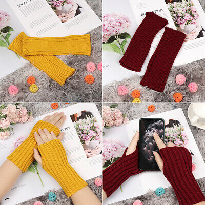 Thick Warm Long Knitted Gloves Fingerless Mittens Arm Warmers Candy Color