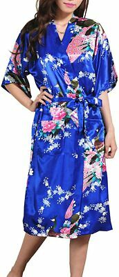 Ancia Women Kimono Long Robe Satin Printed Nightwear Bridesmaid Bathrobe Sleepwe