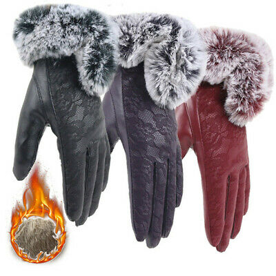 Leather Thicken Warm Touch Screen Mittens Lace Cashmere Gloves Faux Fur Gloves