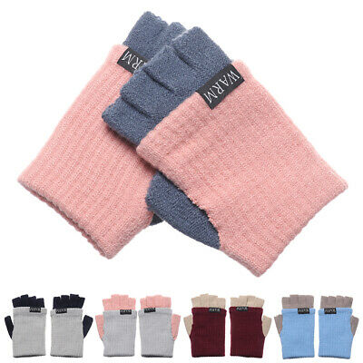 Women Men Soft Candy Color Short Knitted Gloves Thick Warm Half Finger Mittens