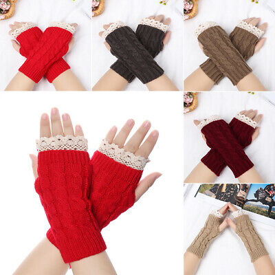 Soft Thick Warm Arm Warmers Long Knitted Gloves Lace Flower Fingerless Mittens