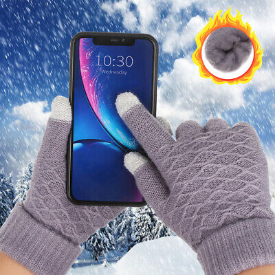 Finger Warm Winter Thicken Warm Knitted Gloves Full Finger Touch Screen Mittens