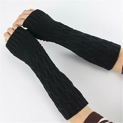 Elastic Winter Fingerless  Mittens Arm Warmers Candy Color Long Knitted Gloves