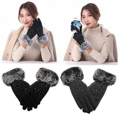 Warm Windproof Touch Screen Mittens Faux Fur Gloves Shiny Cashmere Gloves