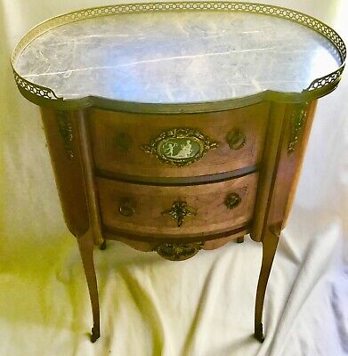 Fine Antique French Commode Nightstand End Table Jasparware Plaque & Marble Top