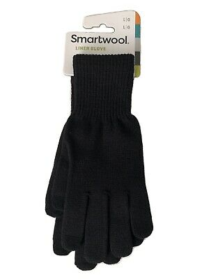 Smartwool Liner Glove Large Black Outdoors Touch Screen Friendly Merino Wool NWT