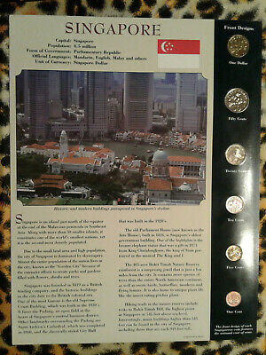 Coins from Around the World Singapore 1995-2005 BU UNC $1 1995 5,10,50 cent 2005